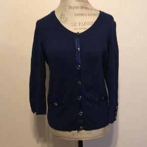 White House Black Market Sweaters - White House Black Market Navy Blue Cardigan Size L